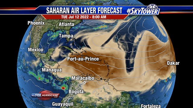 Saharan Air Layer Forecast - Caribbean | Hurricane and