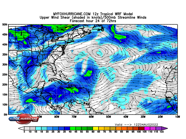 Animated Tropical WRF Model - Shear and Winds