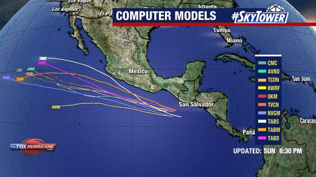 Tropical Storm Ernesto Spaghetti Models View